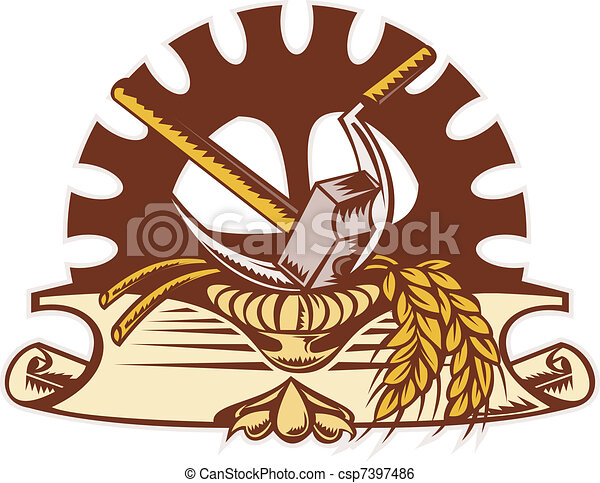 hammer sickle wheat mechanical gear cog - csp7397486