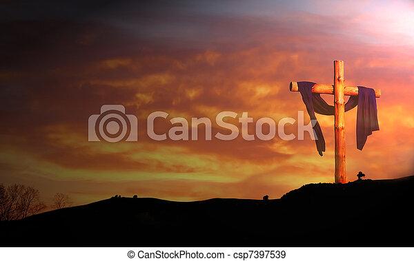 de madera, contra, nubes, cruz, salida del sol - csp7397539