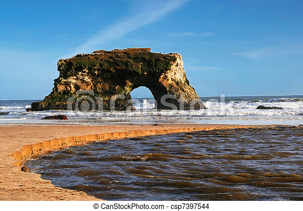 nature bridge on the beach  - csp7397544