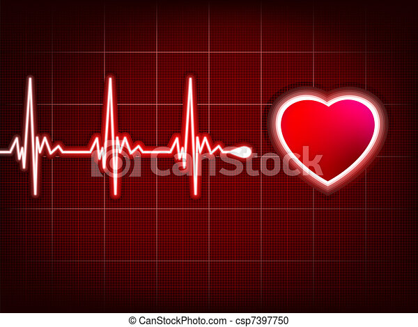 Heart cardiogram with shadow on it deep red. EPS 8 - csp7397750