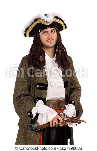 young man in a pirate costume - csp7398036