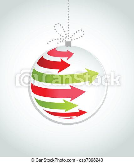 Typographic Xmas balls on the red background - csp7398240