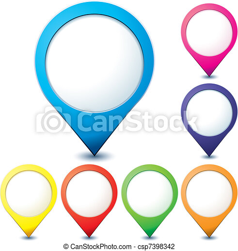 Set of colorful map pionter icons for any needs over white, vector illustration - csp7398342