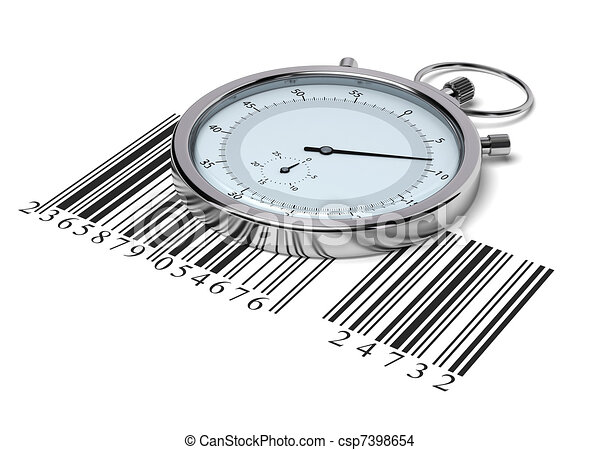 stopwatch and barcode over white background - delivery concept - csp7398654