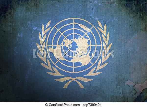 Grunge United Nations Flag - csp7399424