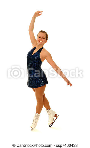 Competitive Figure Skater Smiling as she Poses - csp7400433