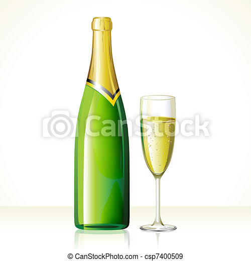 Champagne Glass and Bottle - csp7400509