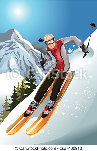 Skier in the mountain - csp7400918