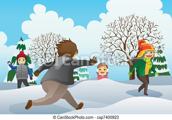 Children Playing Snowballs - csp7400923