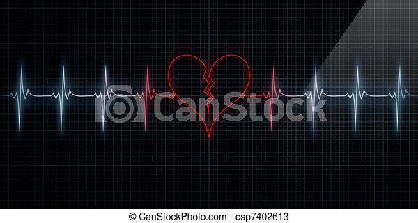 Red Broken Heart Monitor - csp7402613