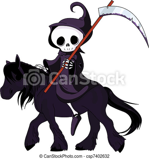 Cartoon grim reaper riding horse - csp7402632