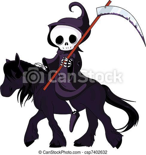 Cartoon grim reaper riding horse - csp7402632