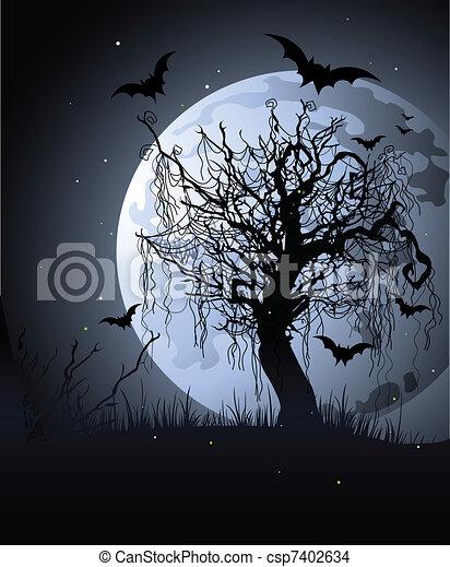 Black Spooky Tree Painting