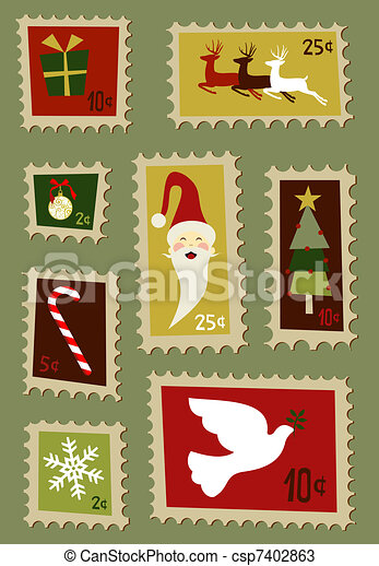 Christmas postage stamps set  - csp7402863