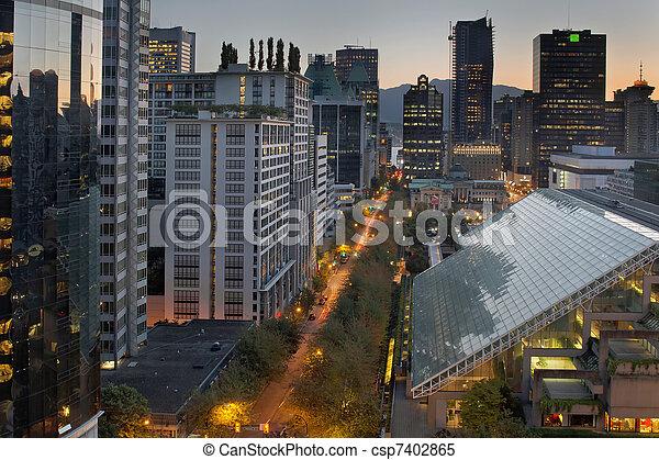 Vancouver BC Cityscape at Sunrise - csp7402865