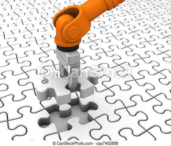 Robot holding jigsaw puzzle piece - csp7402888