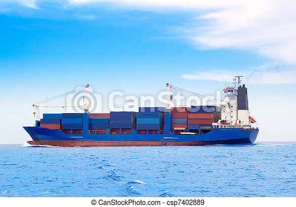 cargo ship with containers in dep blue sea - csp7402889