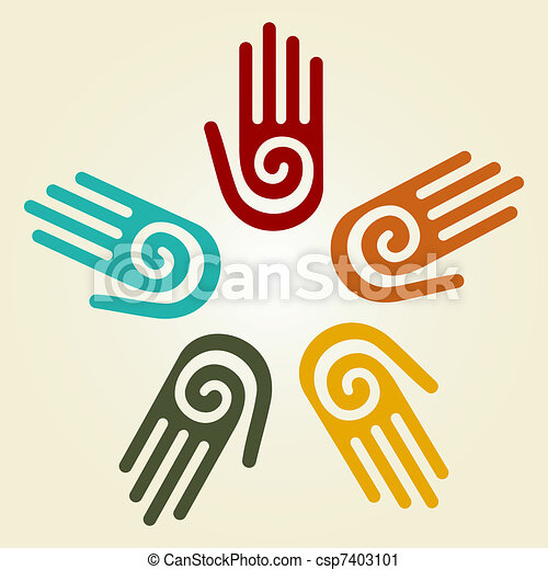 Hand with spiral symbol in a circle  - csp7403101