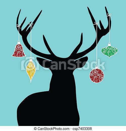 Christmas reindeer silhouette - csp7403308