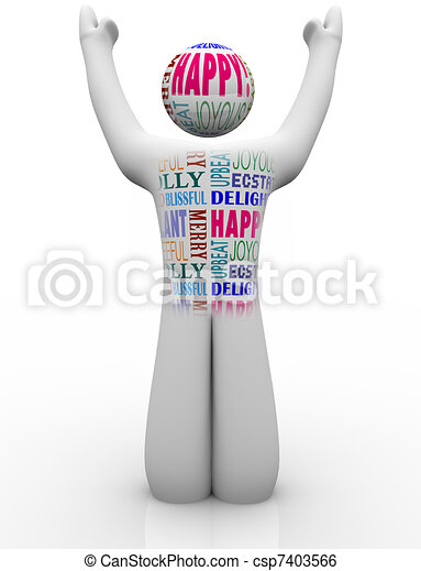 Happy Person Emtions Showing Joy Good Feelings - csp7403566