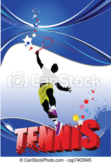 Tennis player poster. Colored Vect - csp7403945