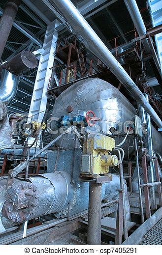 Industrial zone, Steel pipelines in blue tones - csp7405291