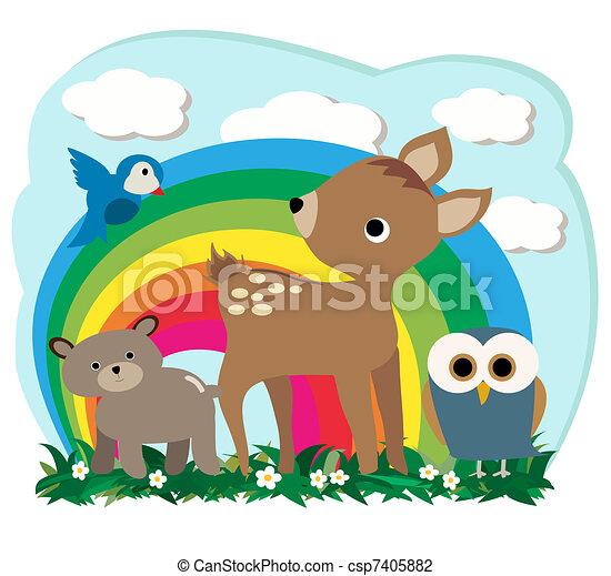 森林, 動物 - csp7405882