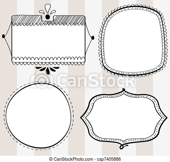Decorative hand-drawn frames - csp7405886