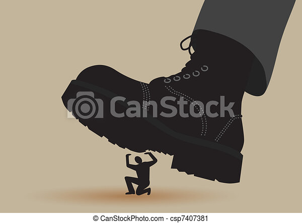 Army boots crushes small silhouette of man