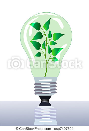 lamp in which grows branch with sheet - csp7407504
