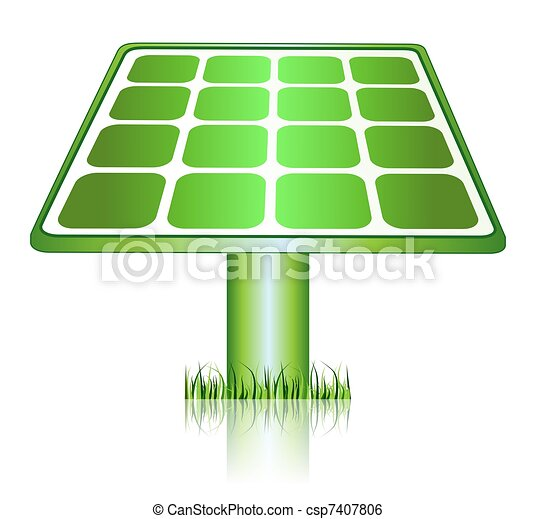 Green Solar Energy Panels Icon - csp7407806