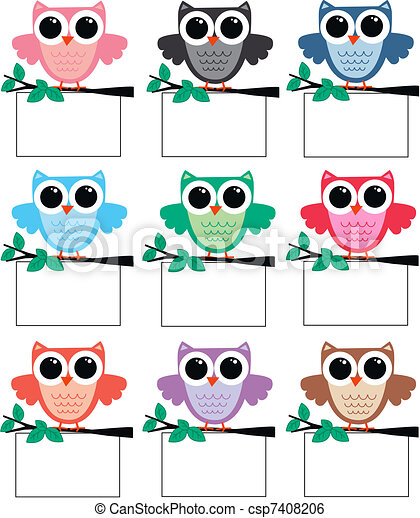 owls with placards - csp7408206
