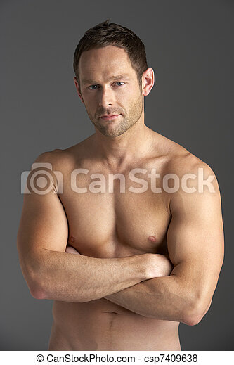 Bare Chested Young Man - csp7409638