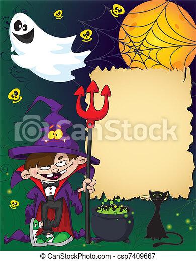 Halloween wizard boy - csp7409667
