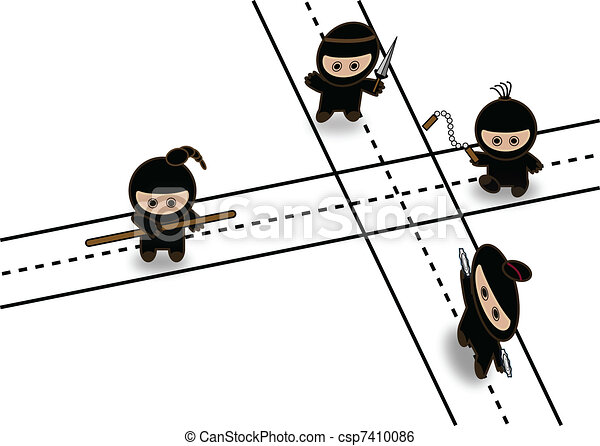 Abstract ninjas fighting on crossroad - csp7410086