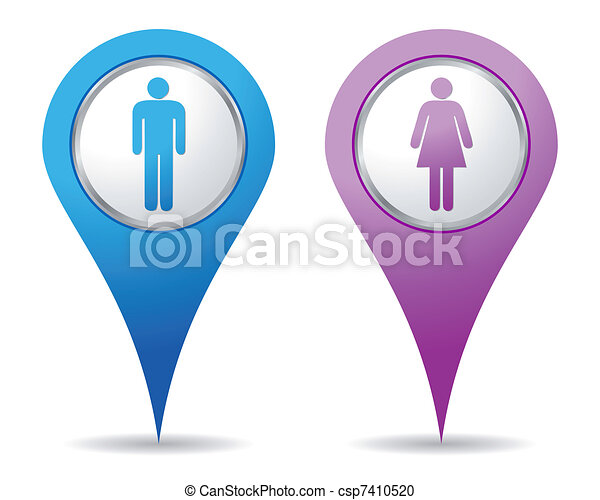 women men location icons - csp7410520