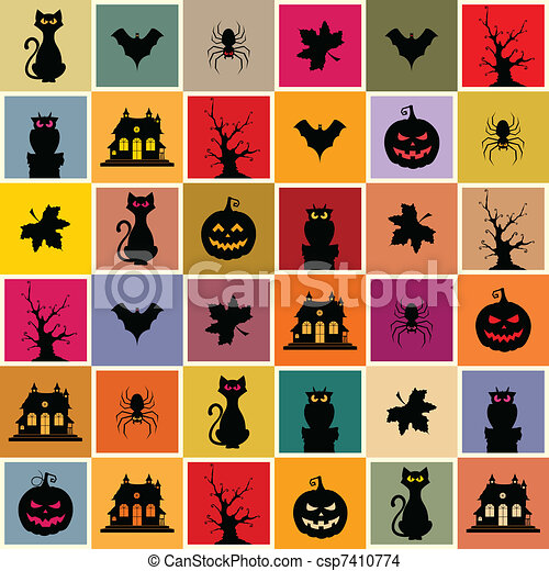 Halloween Seamless Pattern - csp7410774