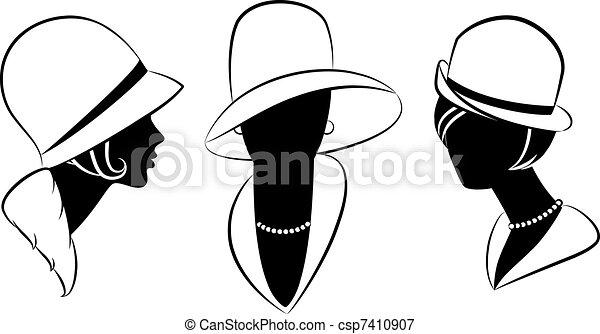 Vintage fashion girl in hat. - csp7410907