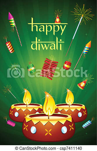 Diwali Diya with Fire Cracker - csp7411140