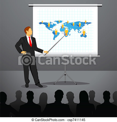 Businessman giving Presentation - csp7411145