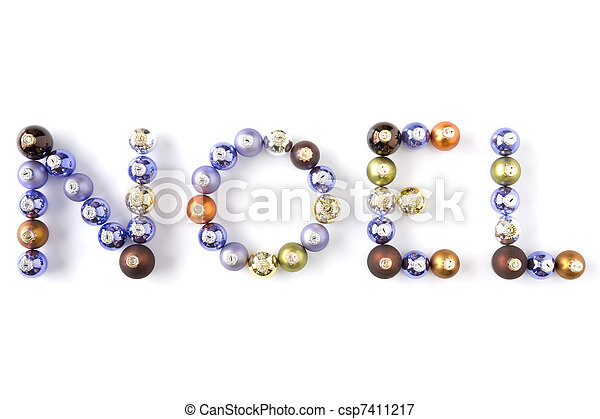 Christmas Baubles Spelling Out Noel - csp7411217