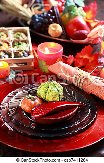 Place setting for Thanksgiving - csp7411264