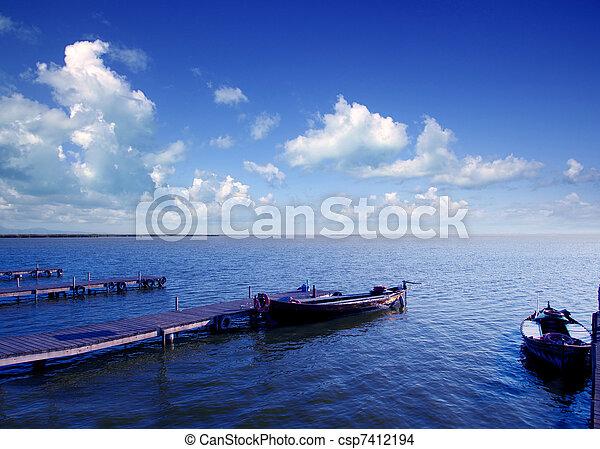 azul,  el,  saler, lago,  albufera, barcos,  VALENCIA - csp7412194