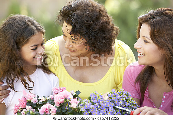 Senior Woman With Adult Daughter And Granddaughter Gardening Together - csp7412222