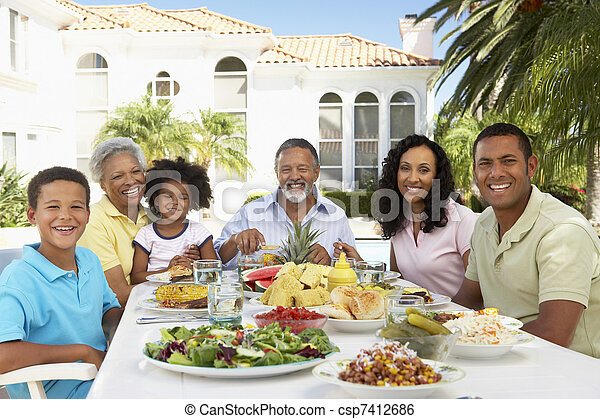 Family Eating An Al Fresco Meal - csp7412686