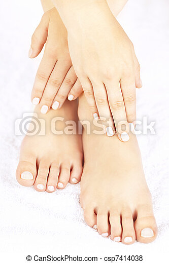 Female feet and hands - csp7414038