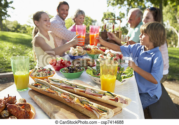 Family Dining Al Fresco - csp7414688