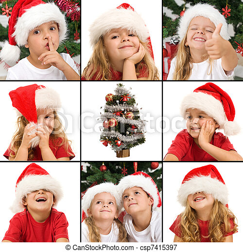 Expressions of kids having fun at christmas time - csp7415397