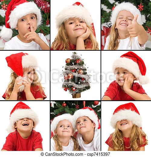 niños, tiempo de navidad, diversión, expresiones, teniendo - csp7415397