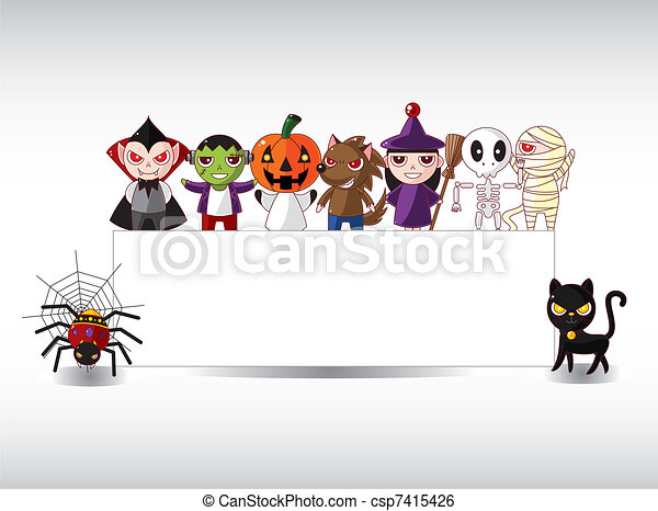 Cartoon Halloween card - csp7415426